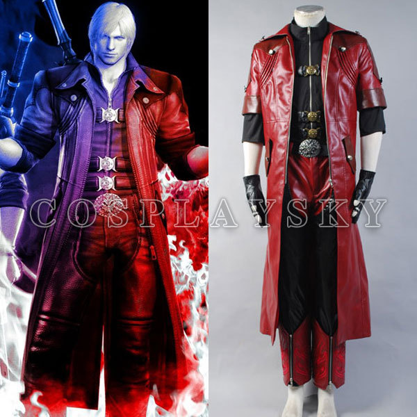 Devil May Cry 4 DMC4 Dante Cosplay Costumes PU leather Man's Suits Uniforms  Red Jacket Warm