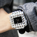 Luxury Brand Full Crystal Shiny Big Square Dial Wristwatch Fashion Style TOP Quality Silicone Ladies Women Dress Watches Relojes