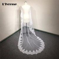 Stokta 3 metre Ucuz Uzun Dantel Gelin Veils Bir katman Düğün Veils Katedrali Gelin Veils Beyaz Fildişi