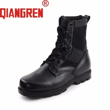 QIANGREN Military Army Boots Mens Spring Autumn Genuine Leather Rubber Black Tactical Boots Outdoor Safety Shoes Botas Militares