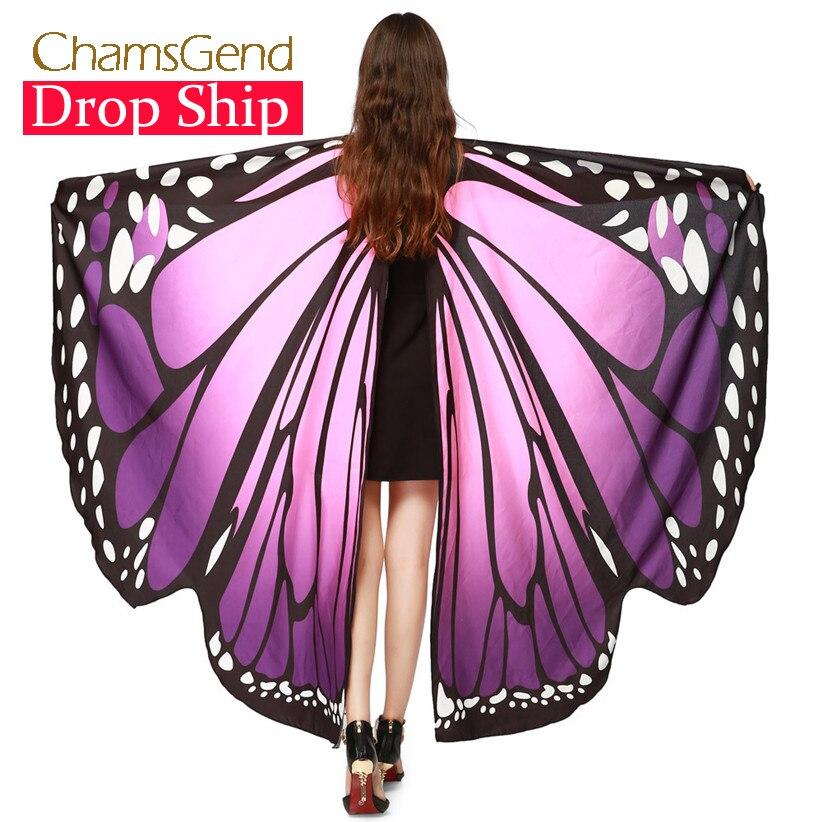 Chamsgend Drop Verschiffen HEIßER Frauen Schmetterling Flügel Pashmina Schal Schal Nymph Pixie Poncho Kostüm Zubehör 70925
