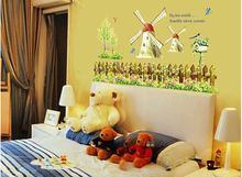 AY907 Free shipping Holland windmill ZOO For Kids Baby Room Wall Sticker Paper Decor Decal