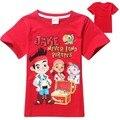 2017 летний стиль джек мальчик Джейк и neverland Пираты мальчик футболки с коротким рукавом хлопок одежда красный бесплатная доставка