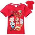 2017 summer style jack boy  Jake and the Neverland Pirates boy t shirts short sleeve cotton clothings red free shipping