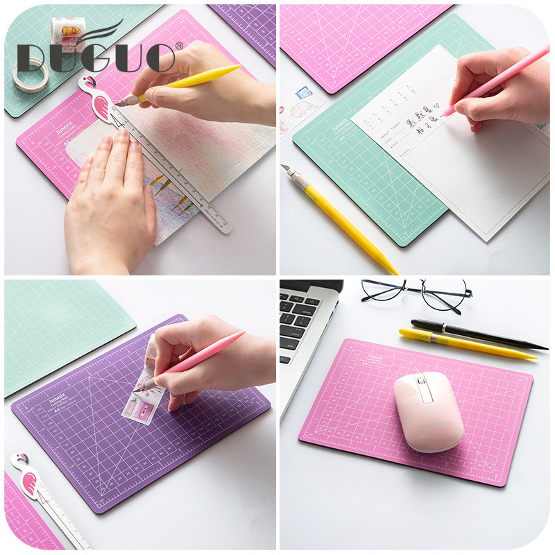DUGUO Cute Stationery And Paper Tape Cutting Mat Silhouette A4 PVC Cutting Mat Candy Color Blade Pen 18mm Cutter With 12 Blades