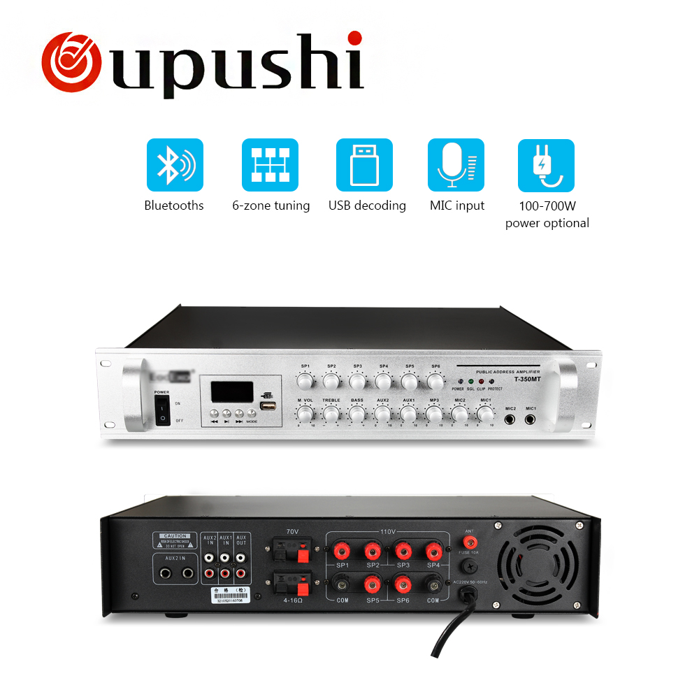 Oupushi T-350MT serie Akustische power verstärker 6 zonen bluetooth verstärker
