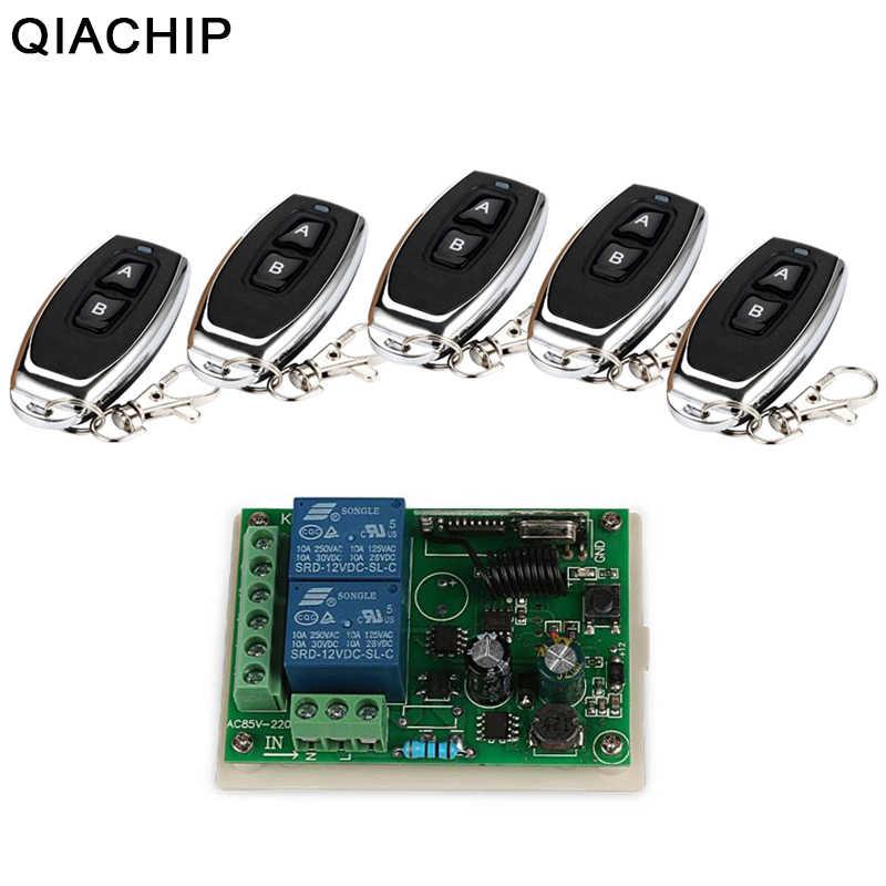 QIACHIP 433 MHz AC 110 V 220 V inalámbrico 2CH Transmisor de RF interruptor de Control Remoto + RF de receptor para luz abridor de puerta de garaje