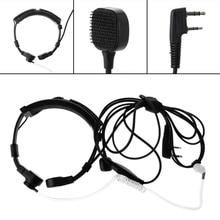 OOTDTY Microphone 2-Pin PTT Throat Earpiece Mic For Baofeng UV5R Radio