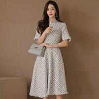 Fashion korean women comfortable thick warm formal dress new arrival elegant OL solid temperament trend party cute a line dress