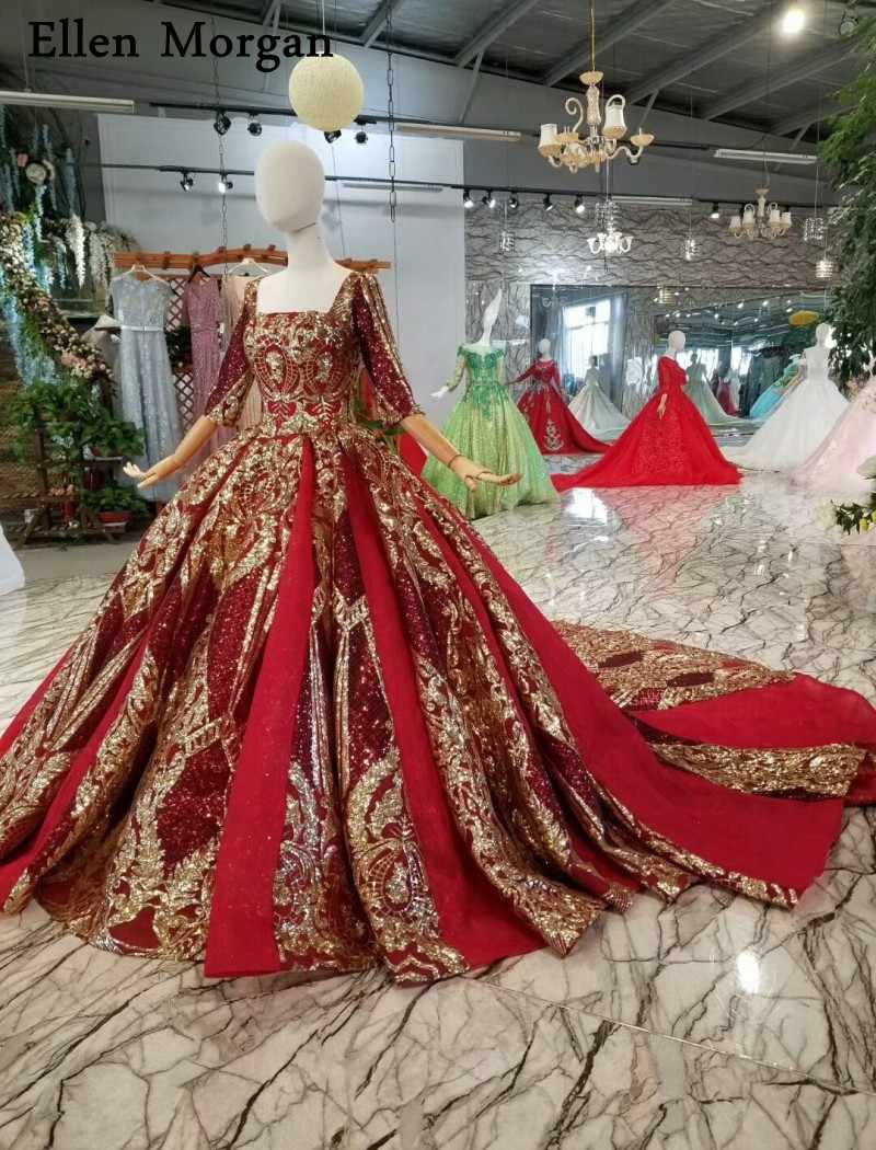 1c21322431 Elegant Half Sleeves Lace Ball Gowns Wedding Dresses Glitter Saudi Arabia  Corset Custom Made Real Photos Bridal Gowns 2019