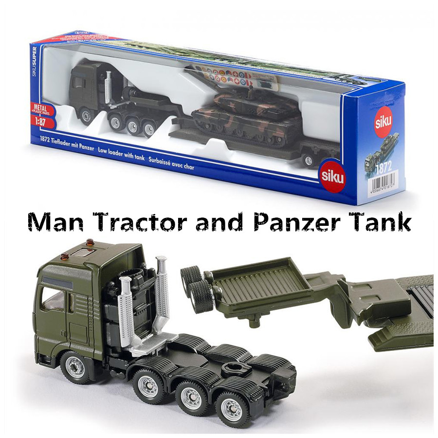 SIKU 1872/Diecast Metal Model/Toy:1:87 Scale Man Platform Truck And Panzer Tank/for Children's Gift/collection/Educational