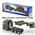 Siku/diecast metal modelo/juguete de simulación: 1: 87 escala hombre camión plataforma y tanque panzer/para niños de regalos/colección/educativos