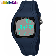 SYNOKE Mens Waterproof Watches Silicone Led Watch Digital Pedometer Fitness Sport Men Wristwatch Fashion
