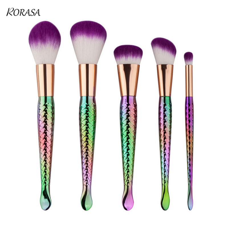 5Pcs Mermaid Makeup Brush Set Gold Silver Eyeshadow Foundation Powder Fish Tail Brush Contour Concealer Blending Make-up brush super pdr slide hammer glue gun glue sticks dent repair tools dent lifter car dent removal tool set 29pcs