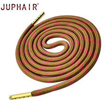 JUPHAIR Cheap Gold Metal Tip Round Shoelaces Fit All Sport Running Climbing Shoe Laces Wave Point Striped Polyester