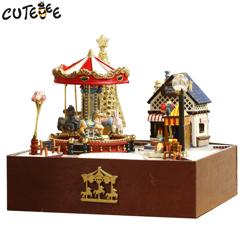 CUTEBEE Doll House Miniature DIY Dollhouse With Furnitures Wooden House Toys For Children Birthday Gift merry go around T020 cutebee doll house miniature diy dollhouse with furnitures wooden house toys for children birthday gift home decor craft m017