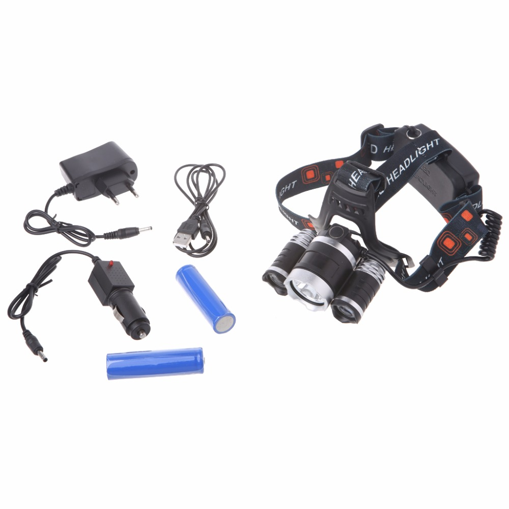 Outdoor Camping Flashlight for Hiking Fishing Hunting Multi Tool 8000LM Rechargeable 18650 3 Lights Adjustable