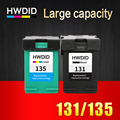 HWDID refilled cartridge replacement for HP 131 135 for HP Deskjet 5743 5940 5943 6843 6940 Photosmart 2573 2613 PSC 1600 1613