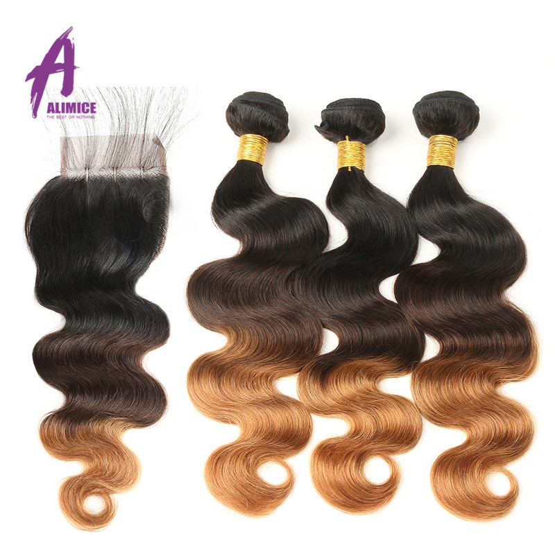 Alimice Ombre Bundles With Closure Peruvian Body Wave T1B/4/30 Color 100% Human Hair Weaves 3 Tone Remy Hair Extensions