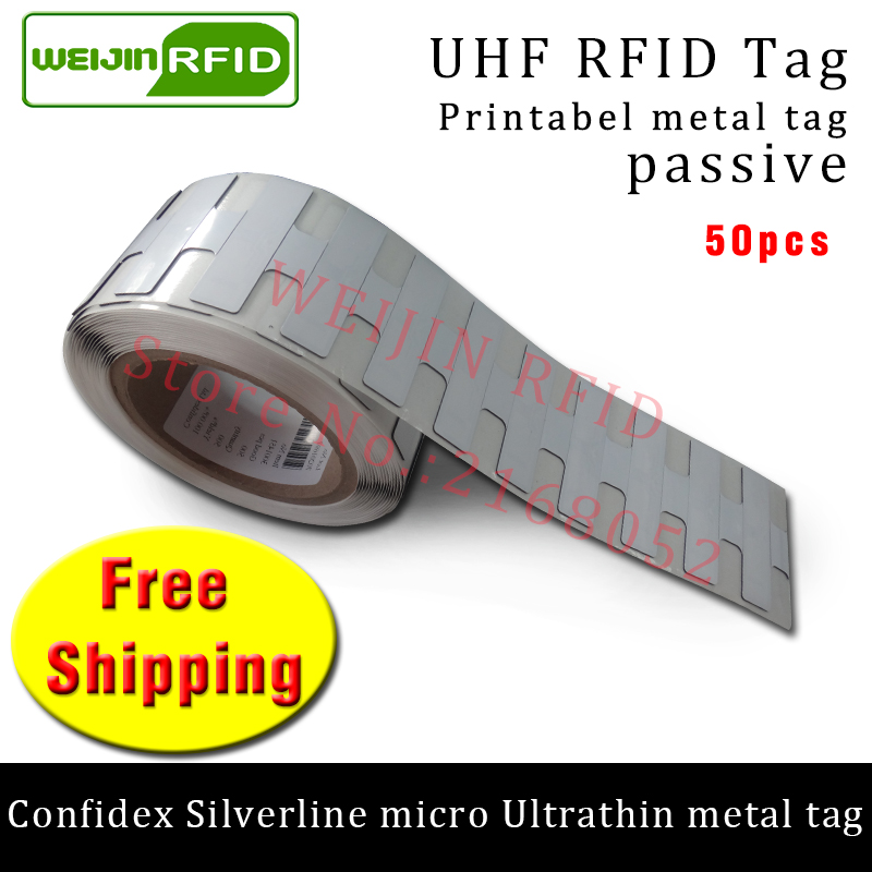 Здесь продается  UHF RFID ultrathin anti-metal tag confidex silverline micro 915mhz 868m M4QT 50pcs free shipping printable PET passive RFID tags  Безопасность и защита