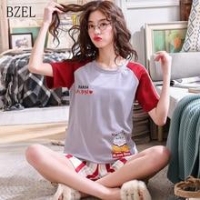 BZEL Short Sleeve Pajamas Summer Casual Women Shorts Solid Soft Cotton