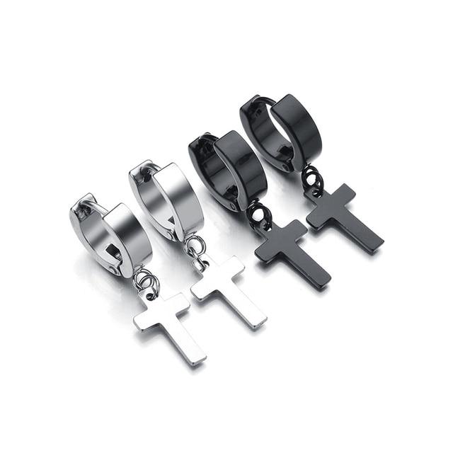 Newest Punk Stainless Steel Black Cross Earrings Silver Plated Drop Earring Clic Design Jewelry For Men
