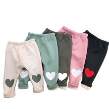 hot deal buy baby girl winter pants autumn new girls plus velvet thickening love female baby pants warm pants for girls leggings kids clothes