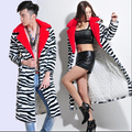 2015 NEW HOT Right Zhi-Long GD Zebra fur coat long outweear couple models men's nightclub singer stage costumes trench