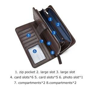 Image 3 - Мужской Длинный кошелек из натуральной кожи BISON DENIM, деловой кошелек на молнии с карманом, роскошный фирменный дизайн, удобный клатч, N8222 1