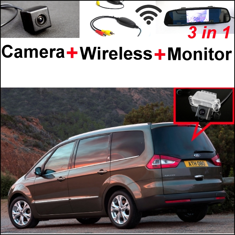3 in1 Special Camera + Wireless Receiver + Mirror Monitor Easy DIY Parking System For Ford Galaxy MK3 2006~2014 wireless pager system 433 92mhz wireless restaurant table buzzer with monitor and watch receiver 3 display 42 call button