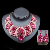 Fashion Dubai Rhinestone Bridal Jewelry Set Wedding Prom Party Accessories Gold Color Necklace Earring Set For