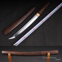 Japanese Tanto Folded Steel Dagger Short Sword Rose Wood Scabbard Sharpness Ready For Cutting Full Tang Supply