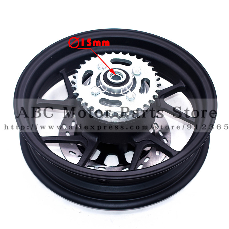 Motorcycle Rear Rims 12 inch With Sprocket #428-34 tooth and <font><b>200mm</b></font> Brake Disc Plate <font><b>Rotor</b></font> 2.75-12inch Vacuum Wheel Rim image