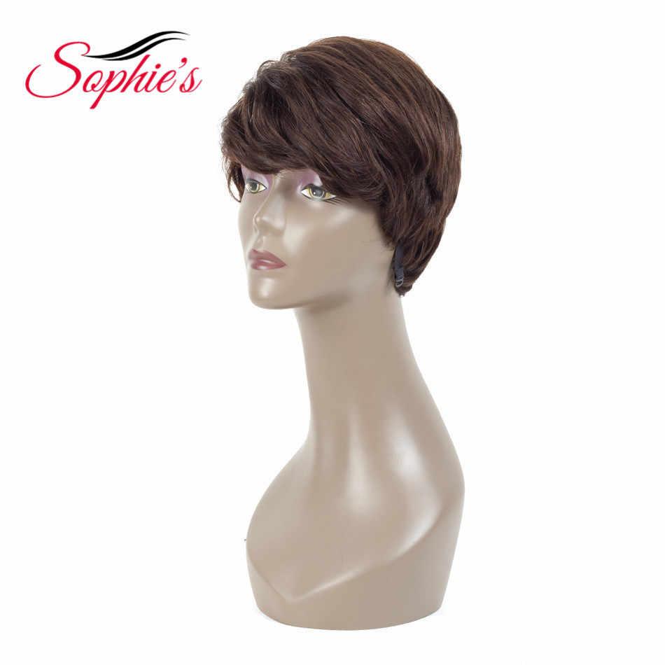 """Sophie'nin kısa insan saçı Peruk Kadınlar Için Doğal Dalga Peruk 4 """"Doğal Siyah 100% Olmayan Remy Insan Saç Makinesi yapılan H. VERA Peruk"""