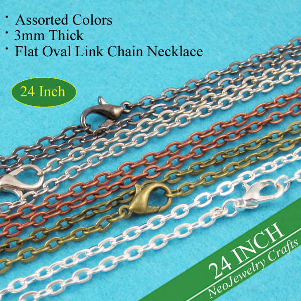 24 inch Rolo Chain Necklaces 60cm Vintage Style Rolo Chain Necklaces 3mm Flat Oval Link Chain