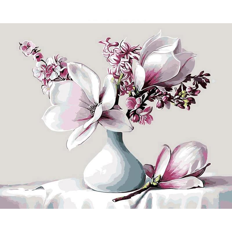Frameless Canvas Art Oil Painting Flower Painting Design: Frameless Magnolia Flower In Bottle Diy Oil Painting By