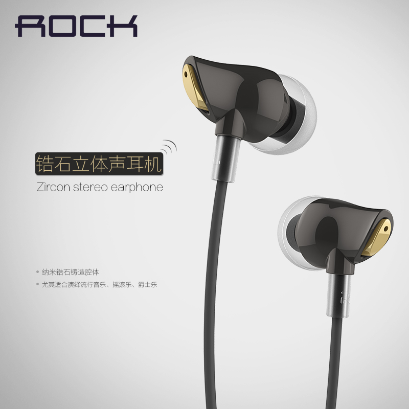 Rock Zircon stereo earphone Headset handsfree Headphones 3.5mm Earbuds for iPhone Samsung with Remote And MIC image