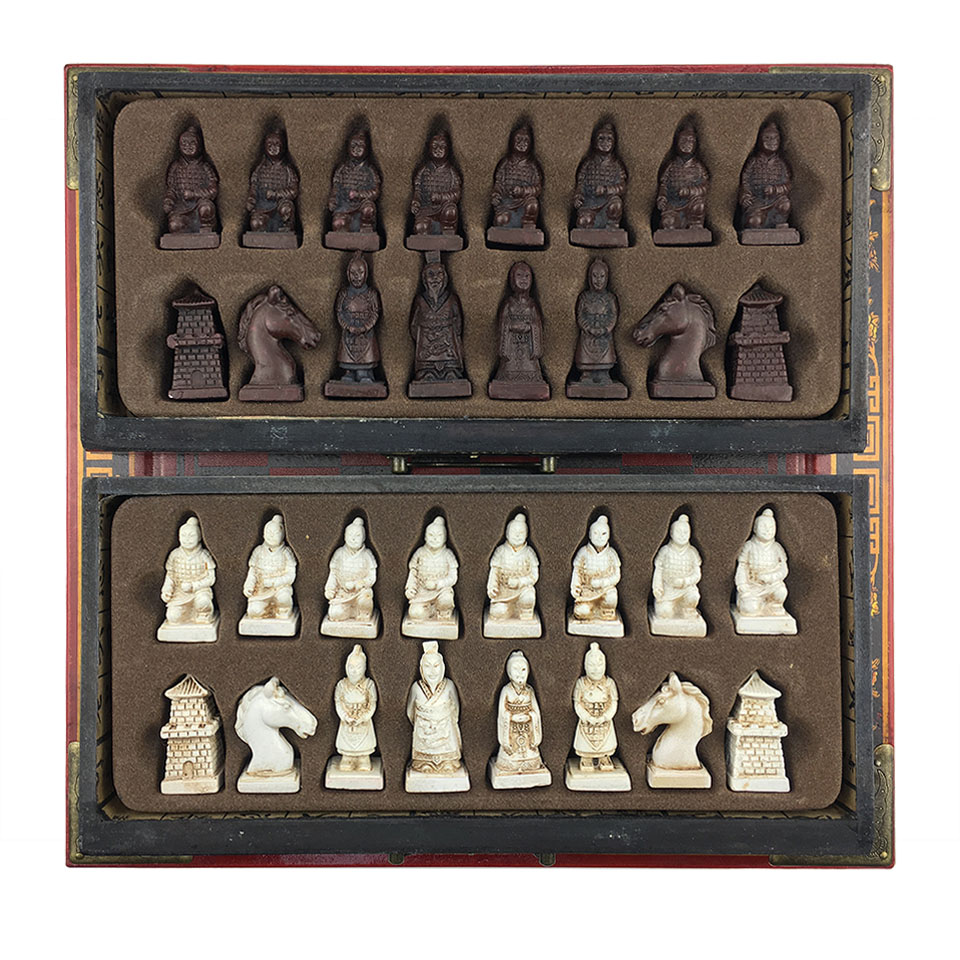Wooden Chess Set Terra Cotta Warriors or Manchu troops International Chess Game Resin Chess Pieces Wooden Cassette Chessboard 57 in Chess Sets from Sports Entertainment