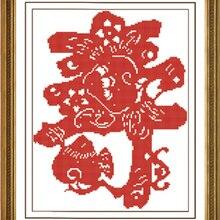 Процветающей приветствия персонаж шоу с персиковым Счетный штамп Набор для вышивания крестиком