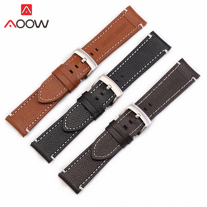 Genuine Cow Leather Watchband 18mm 20mm 22mm Black Brown Sewing Men Women Replacement Band Strap Watch AccessoriesGenuine Cow Leather Watchband 18mm 20mm 22mm Black Brown Sewing Men Women Replacement Band Strap Watch Accessories