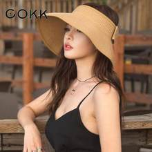 COKK Brand New Spring Summer Visors Cap Foldable Wide Large Brim Sun Hat Beach Hats for Women Straw Hat Wholesale Chapeau(China)
