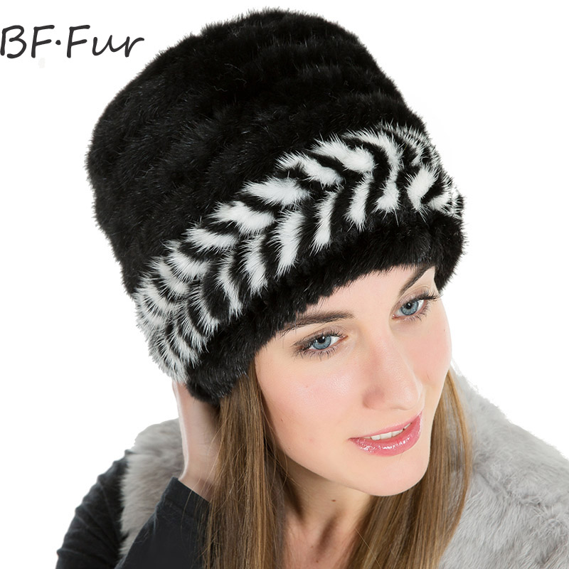 Winter Warm Real Animal Mink Fur Hat Female Knitted Cotton Natural Black Color Cap Girls Beanies Fashion Adult Warm Hats russian real mink fur hat for female animal fur winter warm beanies fashion solid color cap natural color bonnet girls hats