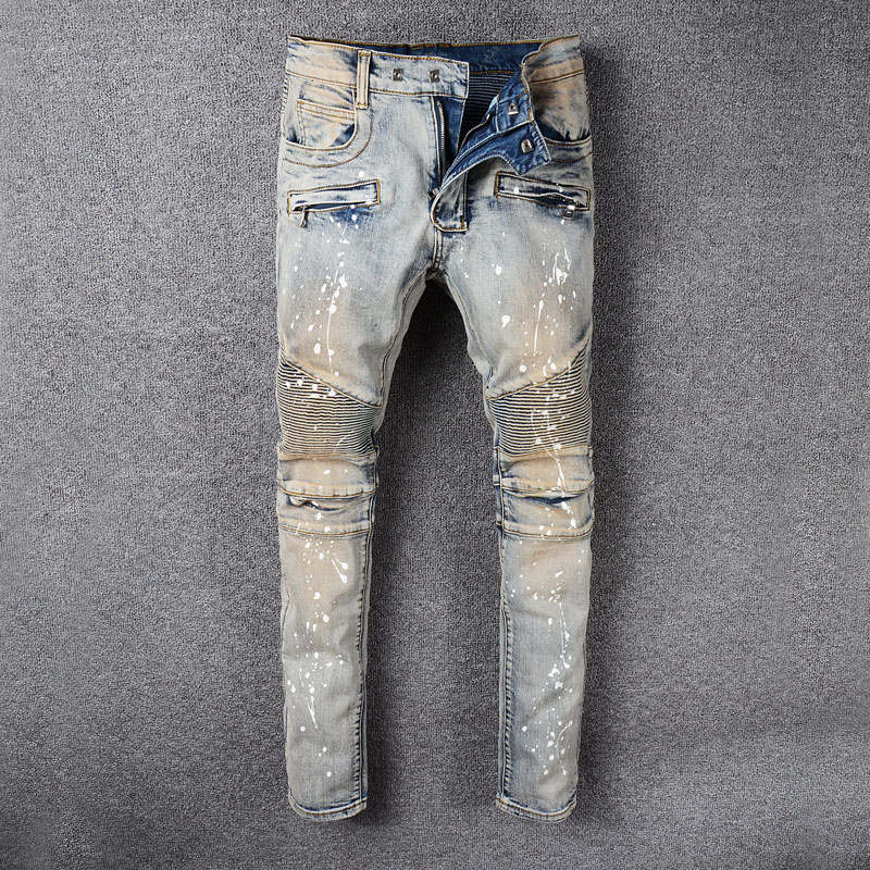 Vintage Retro Color Dirty Paint Biker Jeans Men Fashion High Street Hip Hop Jeans Homme Spliced Cargo Pants Slim Fit Men Jeans