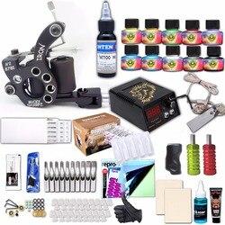 Профессиональный тату-набор, перо, шнур питания для тату-машинки, набор чернил и игл, трансферная бумага, аксессуары