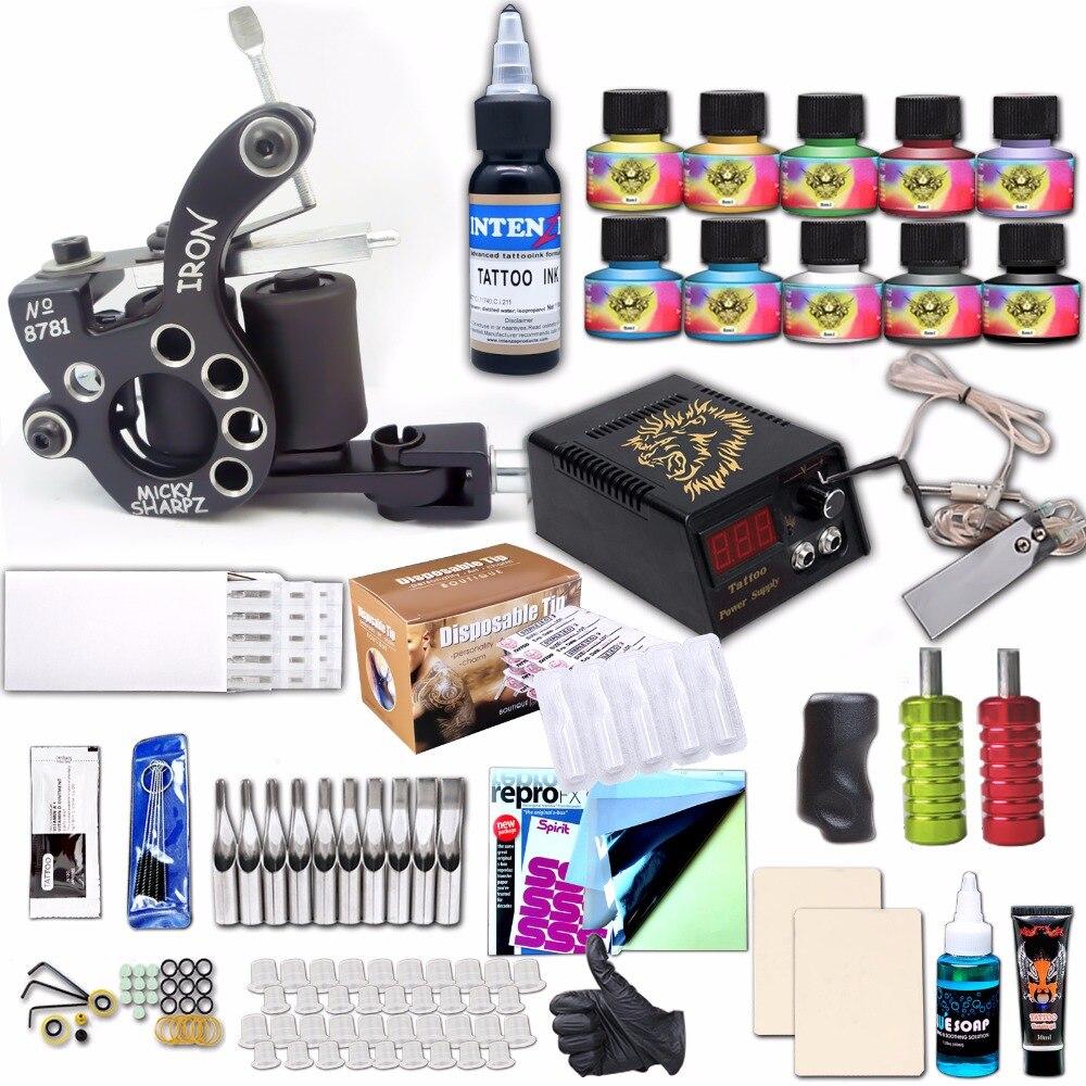 Kit tatuagem profissional conjunto máquina de tatuagem caneta cabo de alimentação conjuntos tinta agulhas transferência acessórios papel
