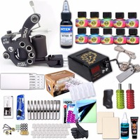 Professional Tattoo Kit Set Tattoo Machine Pen Power Cord Ink Sets Needles Transfer paper Accessories