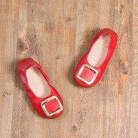 2017 בנות תינוק חדשות נסיכת מוקסינים מוקסין gommino דירות עור רכות בלעדי ילדה ריקוד נעליים אדומות נעלי ילדים לבנים גודל 21-30