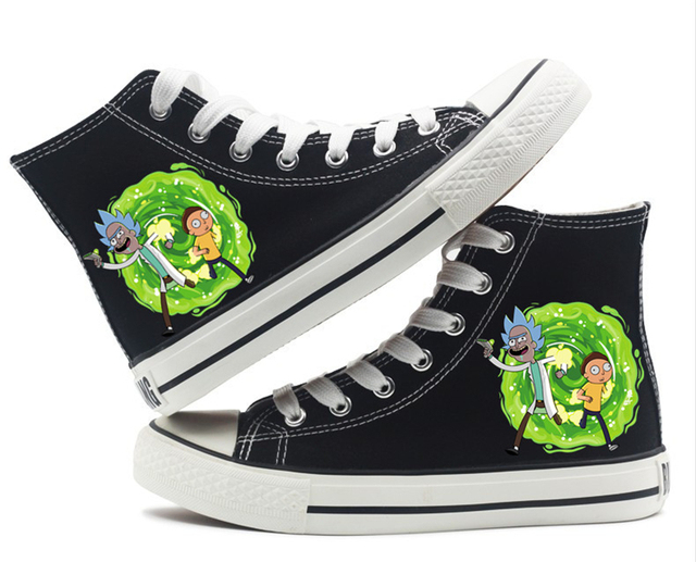 db67d1ec65dd Advanture Rick and morty Pickle Rick Shoes High top Canvas Flat Sneakers  Shoes Women Casual Printing