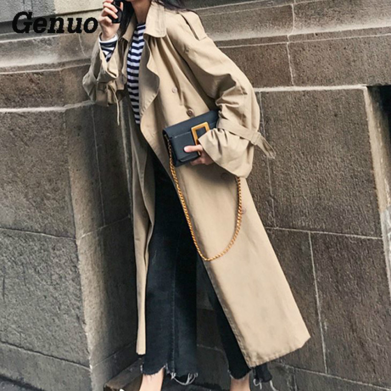 Ankle Length Under Knee X long Spring Autumn Women Trench Coat Khaki Belted Girl british style