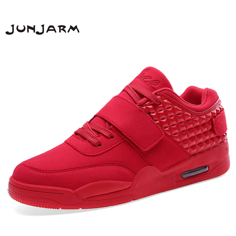 JUNJARM Fashion Autumn Men Casual Shoes Red Suede Leather High Top Men Walking Shoes Breathable Winter